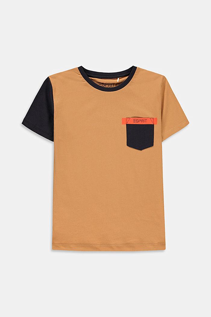 T-shirt à rayures colour blocking et poche, CARAMEL, detail image number 0