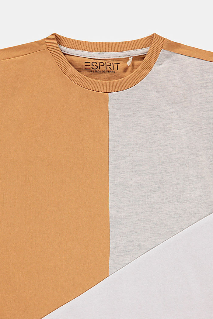 Colour block T-shirt, 100% cotton, CARAMEL, detail image number 2