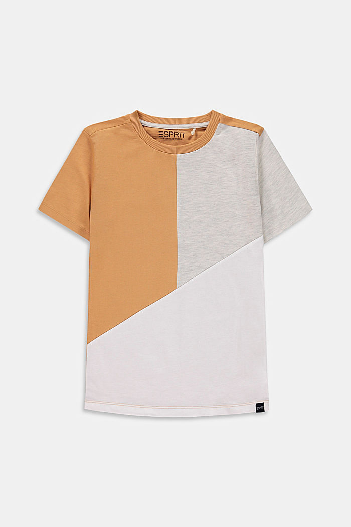 Colour block T-shirt, 100% cotton, CARAMEL, detail image number 0