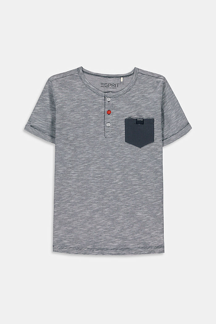 Melange Henley T-shirt made of 100% cotton