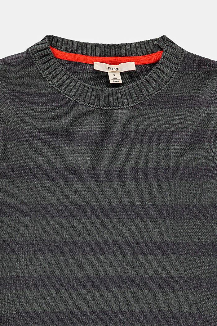 Striped jumper in 100% cotton, LIGHT KHAKI, detail image number 2