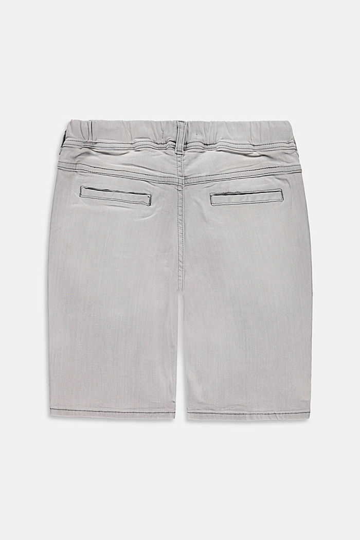 Denim shorts with a stretchy drawstring waistband, GREY LIGHT WASHED, detail image number 1
