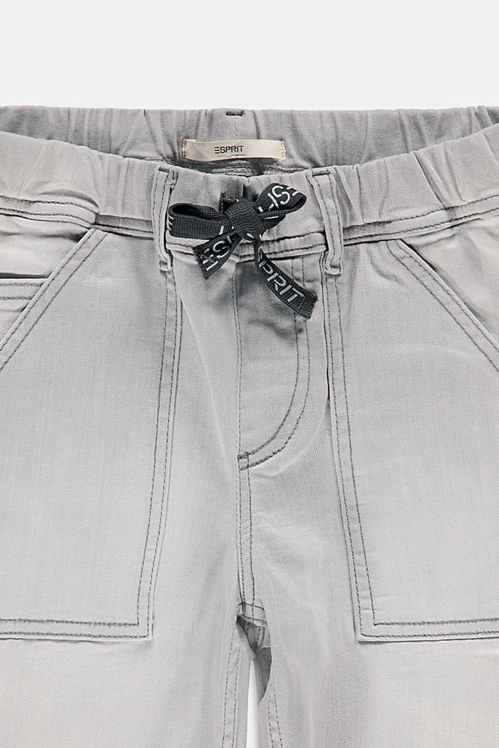 Denim shorts with a stretchy drawstring waistband, GREY LIGHT WASHED, detail image number 2