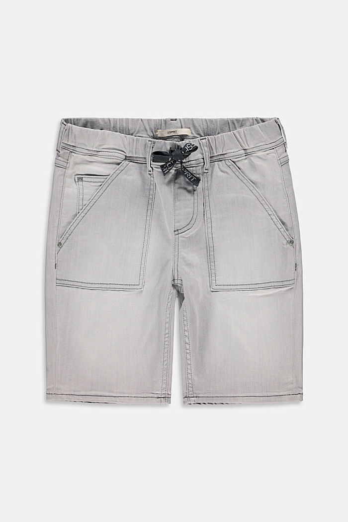 Denim shorts with a stretchy drawstring waistband, GREY LIGHT WASHED, detail image number 0