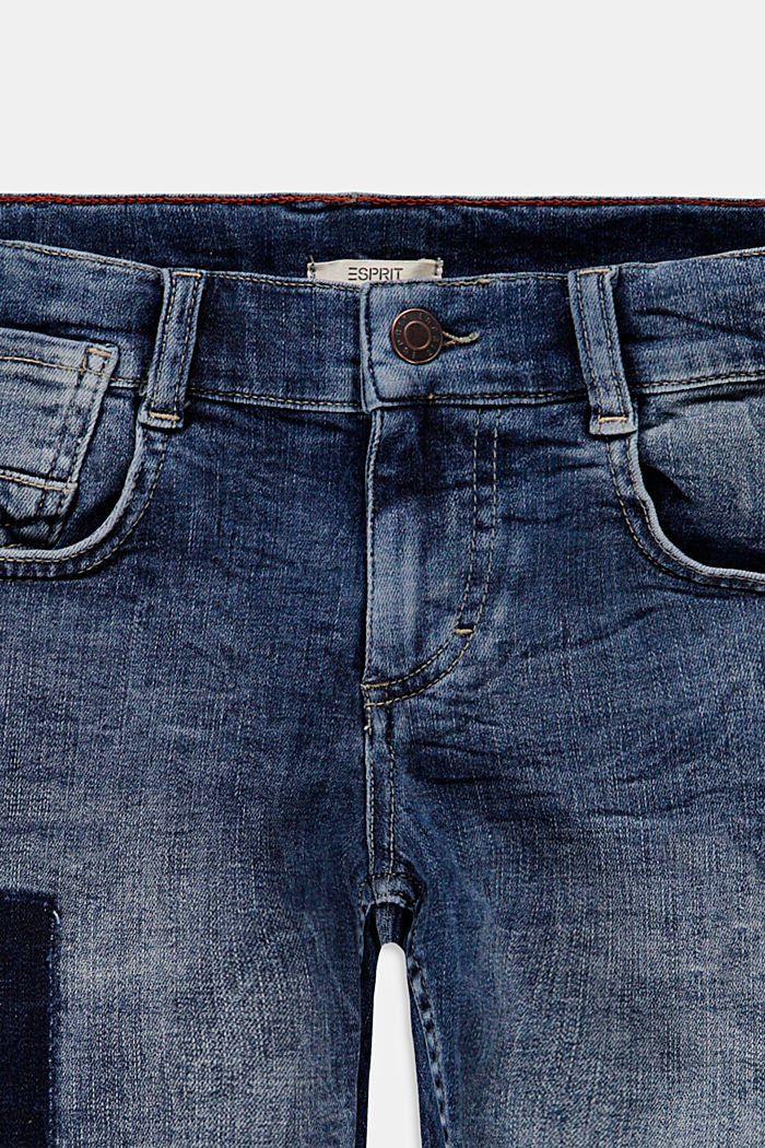 Worn-effect denim shorts with an adjustable waistband, BLUE MEDIUM WASHED, detail image number 2