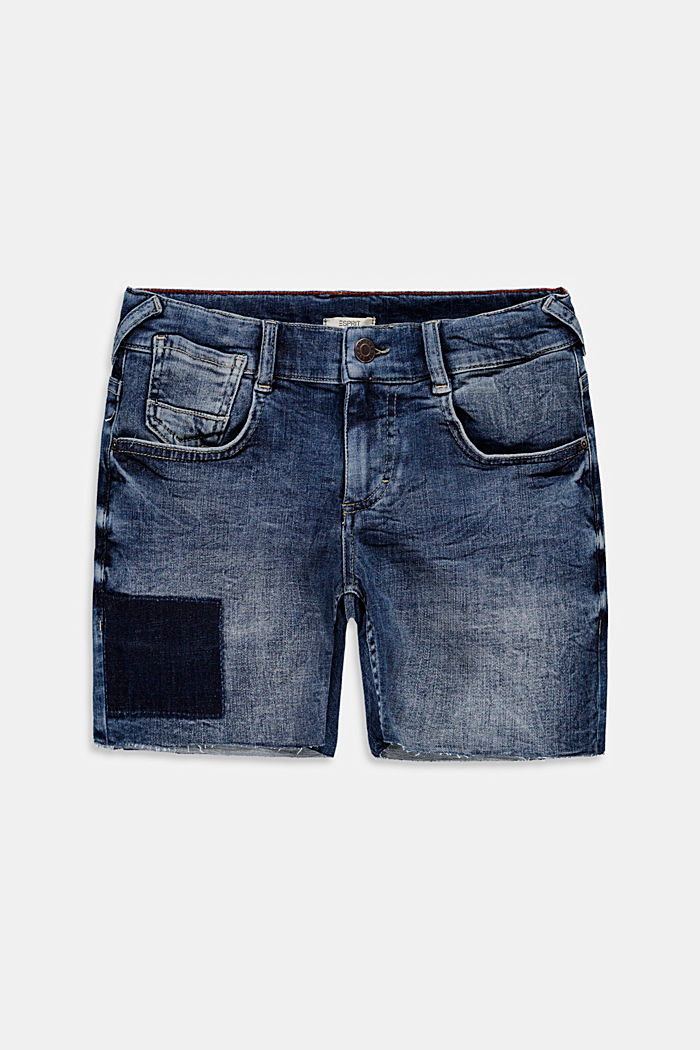 Worn-effect denim shorts with an adjustable waistband