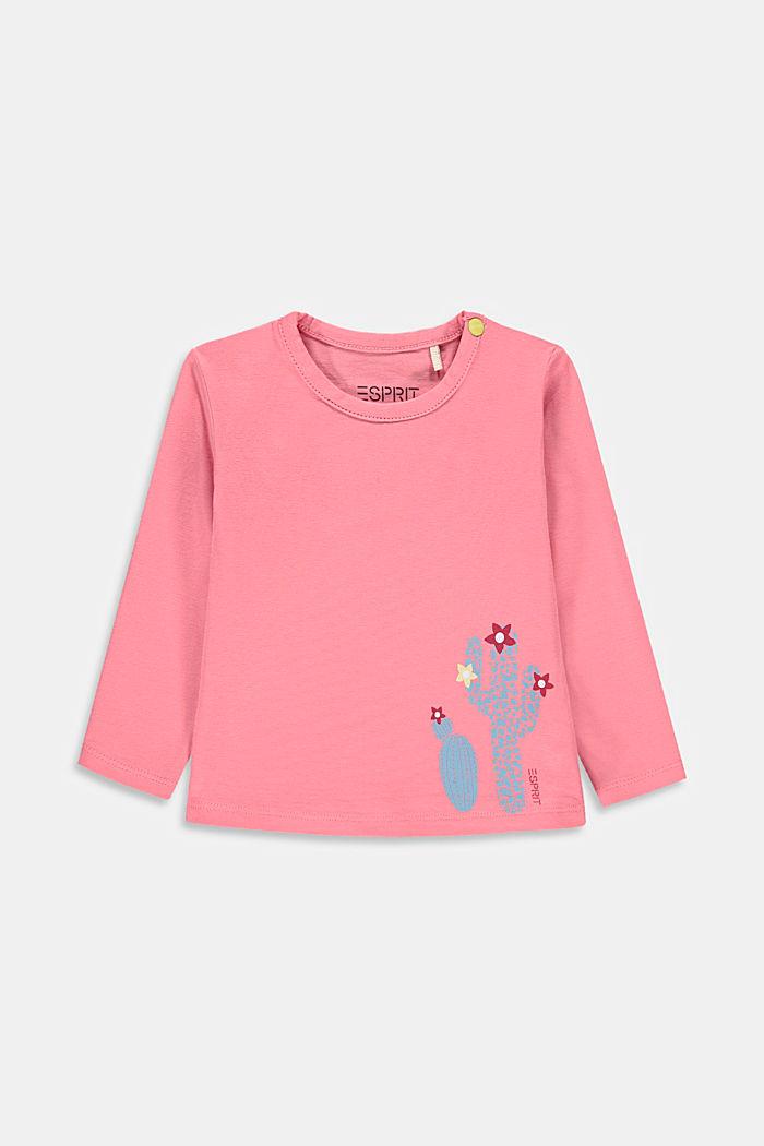 T-shirt manches longues à imprimé cactus, PINK, detail image number 0