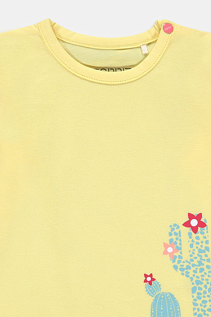 Long sleeve top with a cactus print, BRIGHT YELLOW, detail image number 2