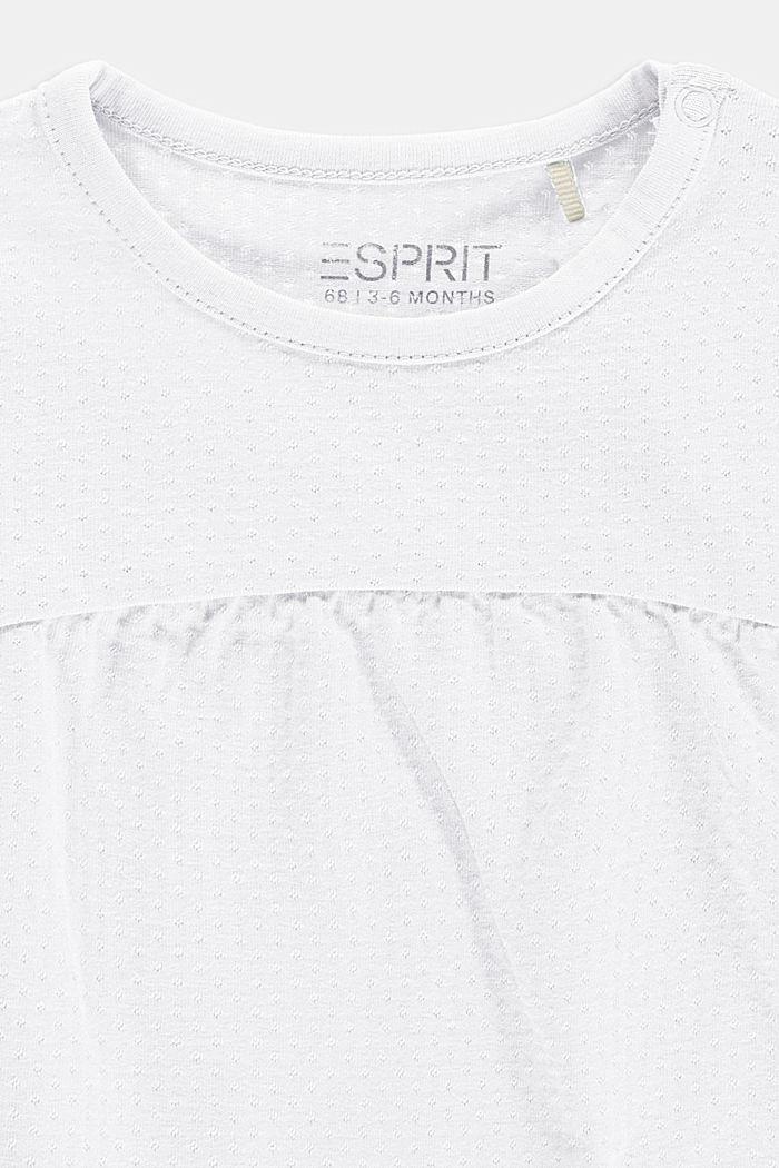 Shirt mit Ajour-Muster und Flügelärmeln, WHITE, detail image number 2