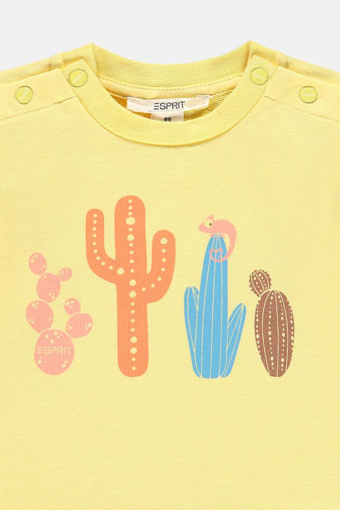 Sweat-shirt à imprimé cactus, 100% coton biologique, BRIGHT YELLOW, detail image number 2