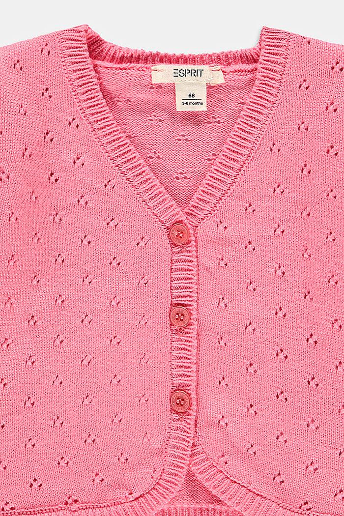Openwork cardigan made of 100% organic cotton, PINK, detail image number 2