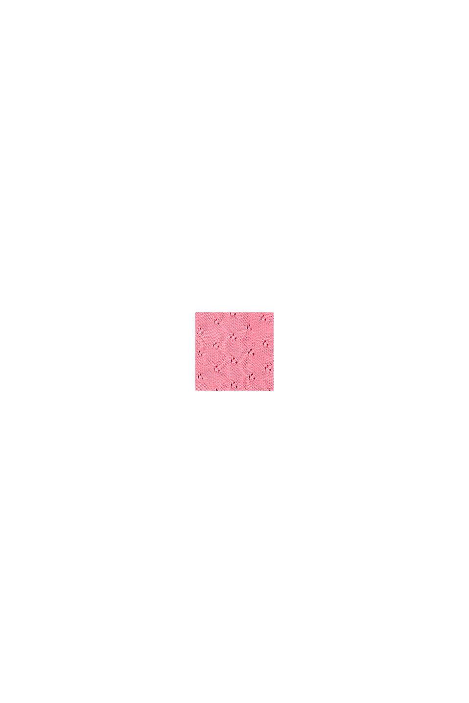 Gebreid vest met ajourpatroon van 100% biologisch katoen, PINK, swatch