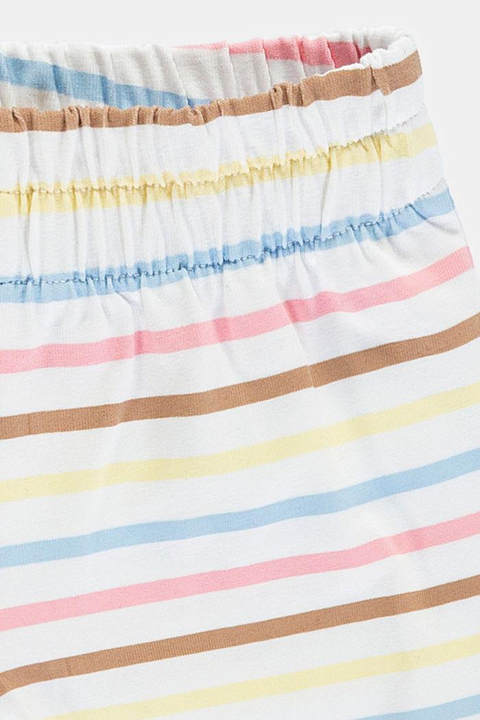 Kleurrijk gestreepte jersey short, biologisch katoen, WHITE, detail image number 2