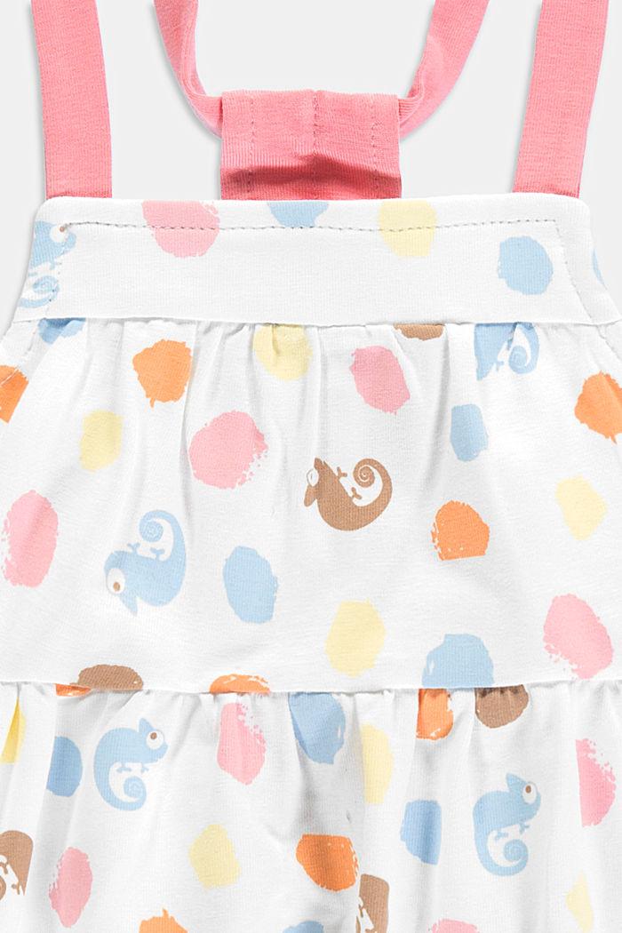 Sukienka na ramiączkach z nadrukiem w kameleony, bawełna ekologiczna, WHITE, detail image number 2