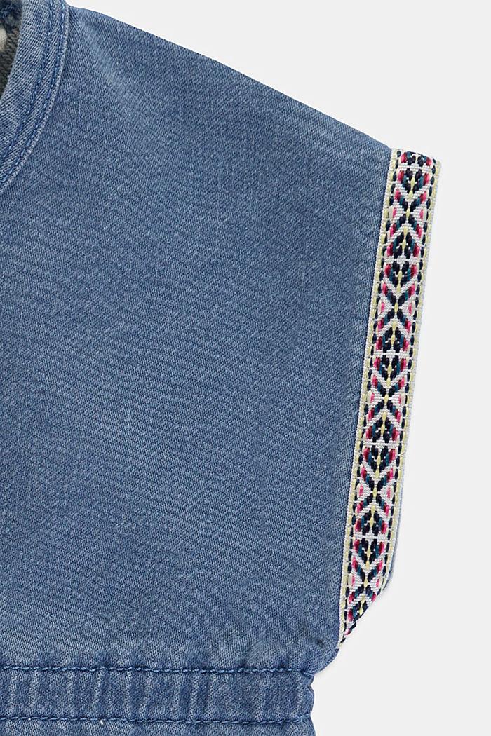 Denim jurk van zachte joggingstof, BLUE BLEACHED, detail image number 2