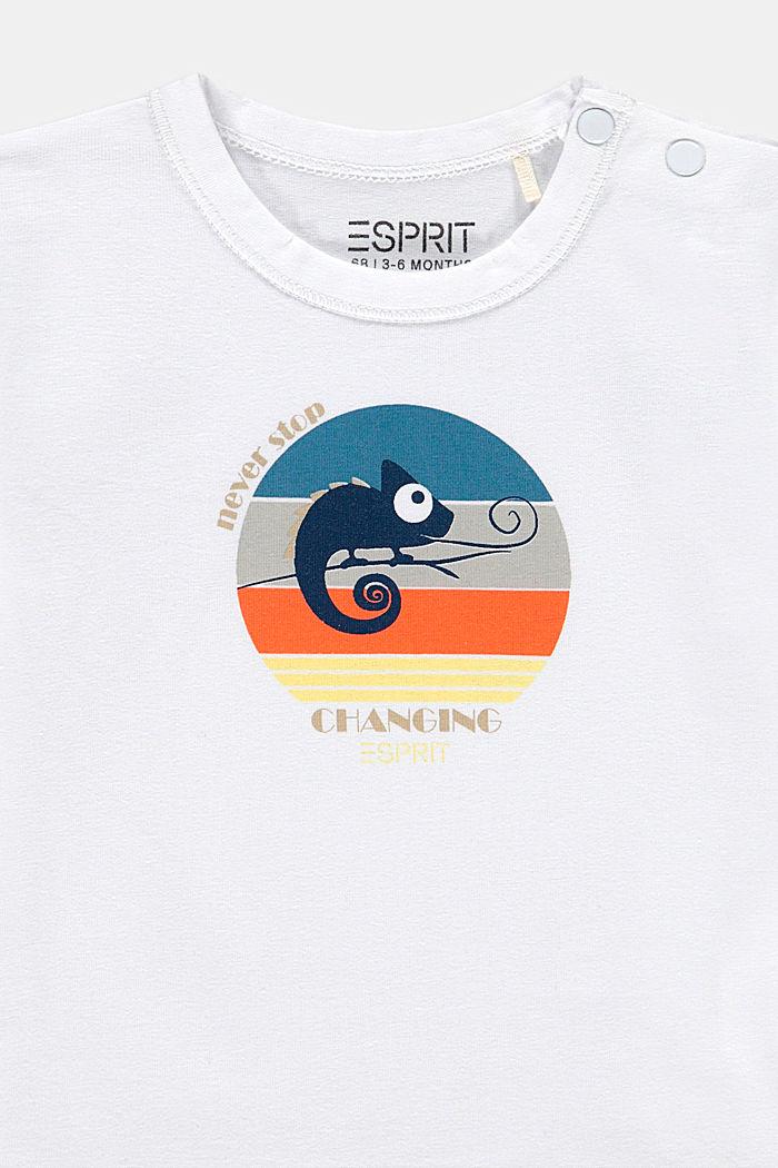 T-shirt met kameleonprint, biologisch katoen, WHITE, detail image number 2
