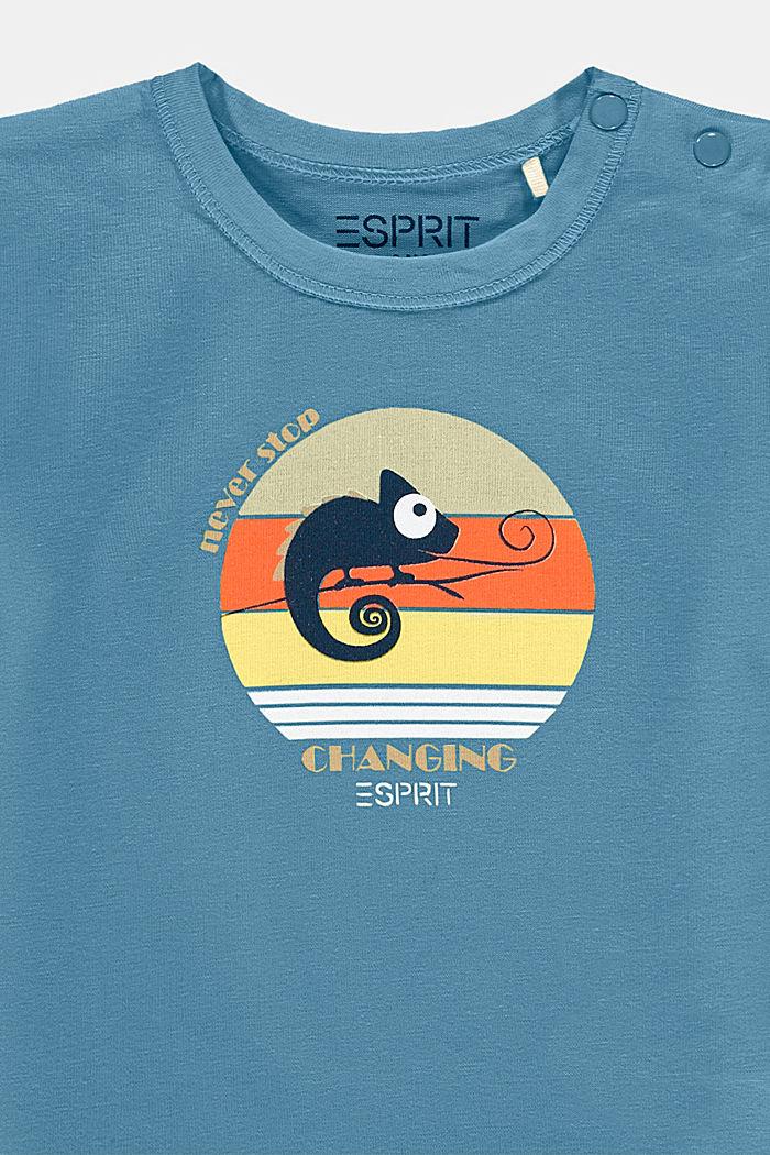 T-Shirt mit Chamäleon-Print, Bio-Baumwolle, GREY BLUE, detail image number 2