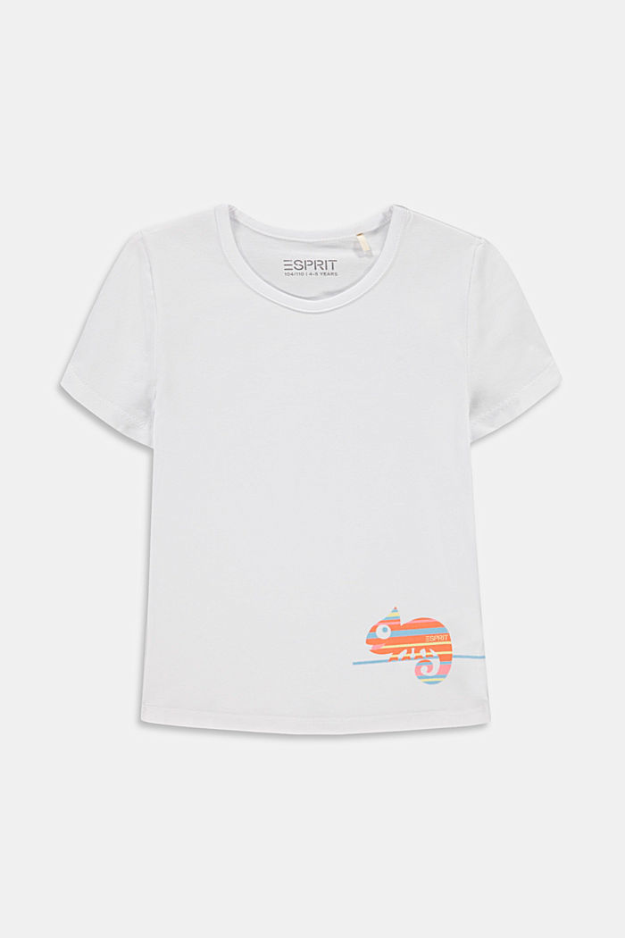 T-shirt con stampa di camaleonte, WHITE, detail image number 0