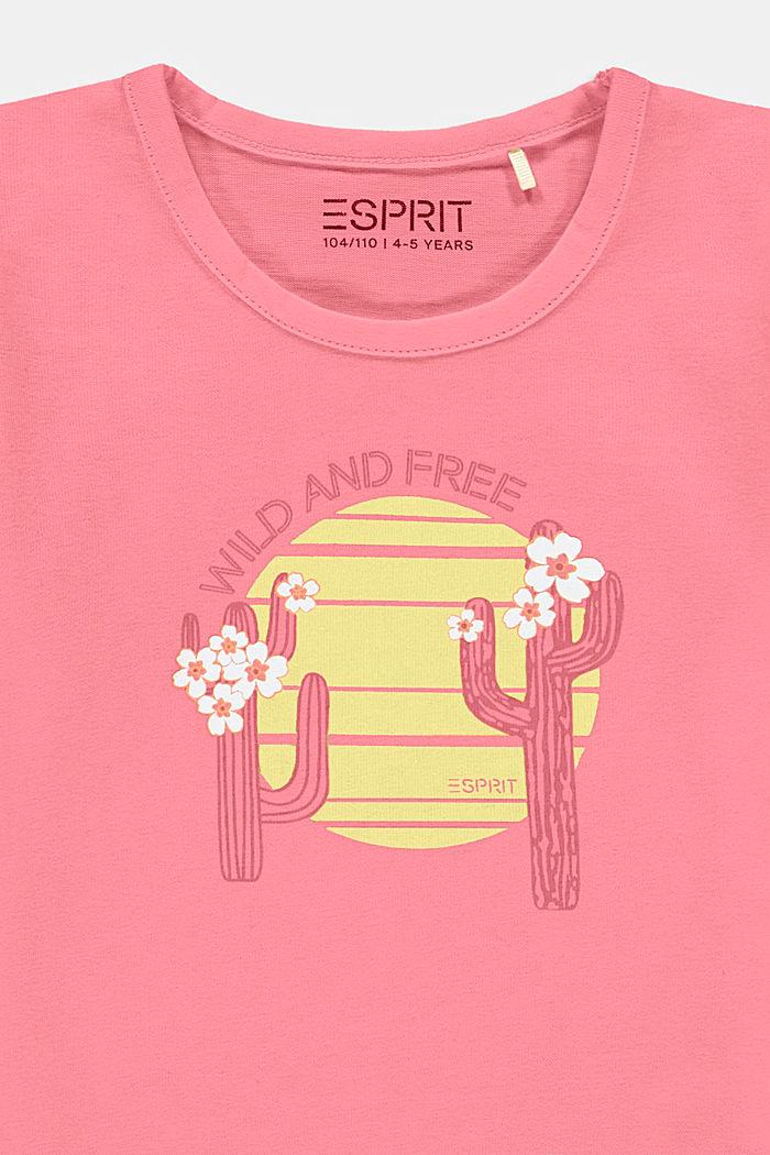 T-shirt met cactusprint, 100% katoen, PINK, detail image number 2