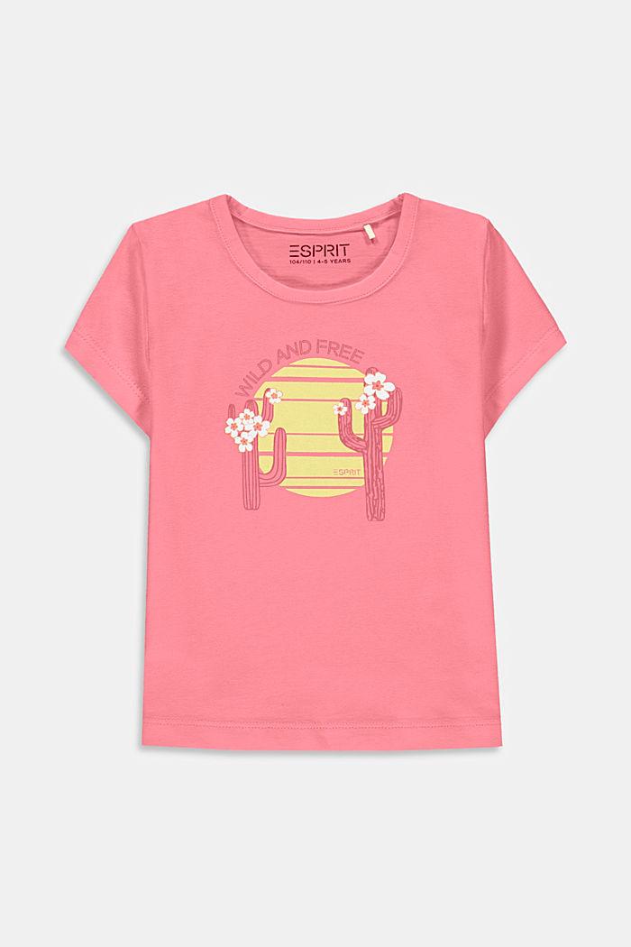 T-shirt met cactusprint, 100% katoen, PINK, detail image number 0