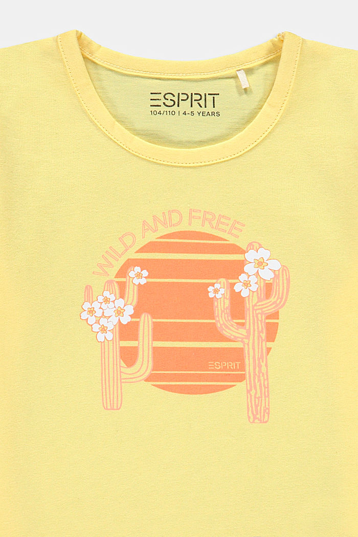 Cactus print T-shirt, 100% cotton, BRIGHT YELLOW, detail image number 2
