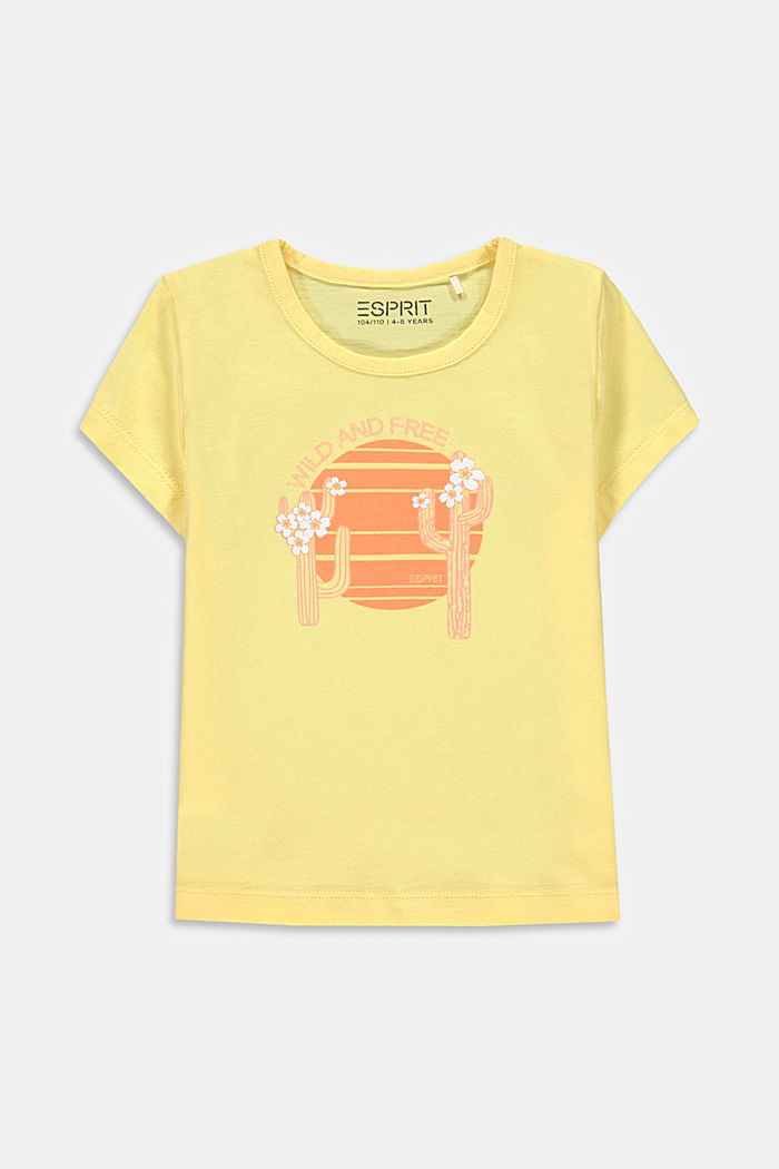 Cactus print T-shirt, 100% cotton, BRIGHT YELLOW, detail image number 0