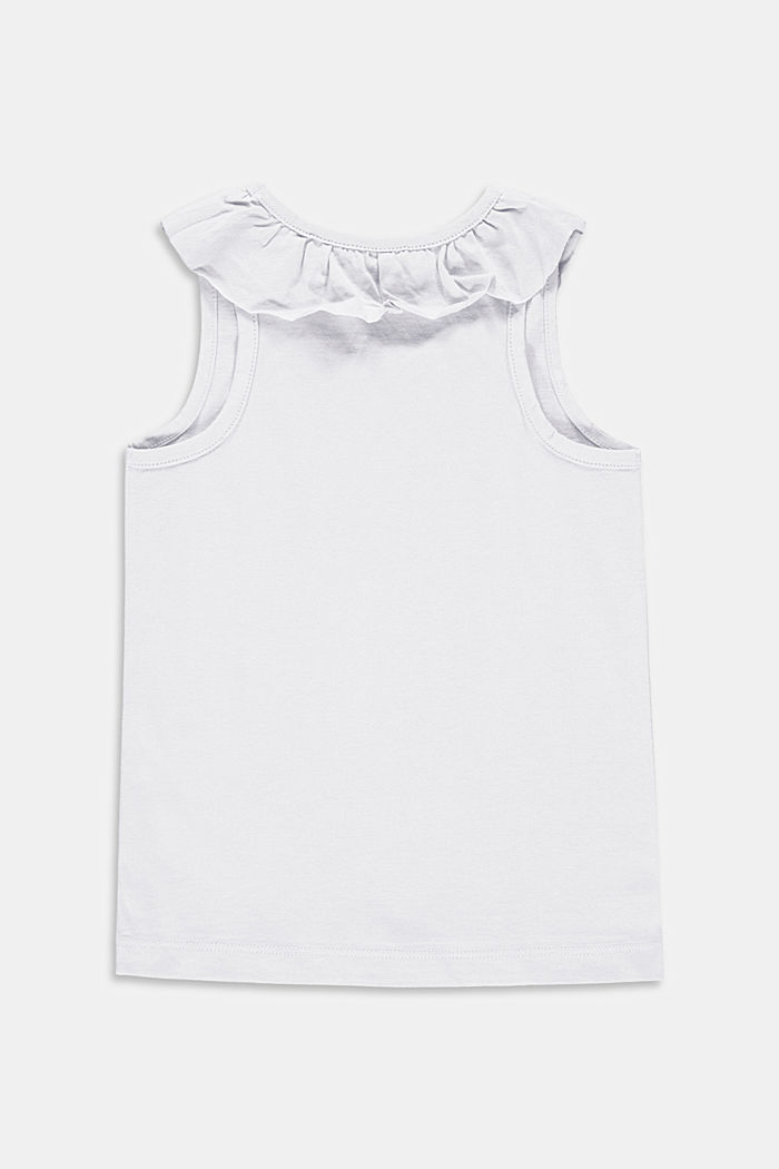 Top with frilled details, stretch cotton, WHITE, detail image number 1