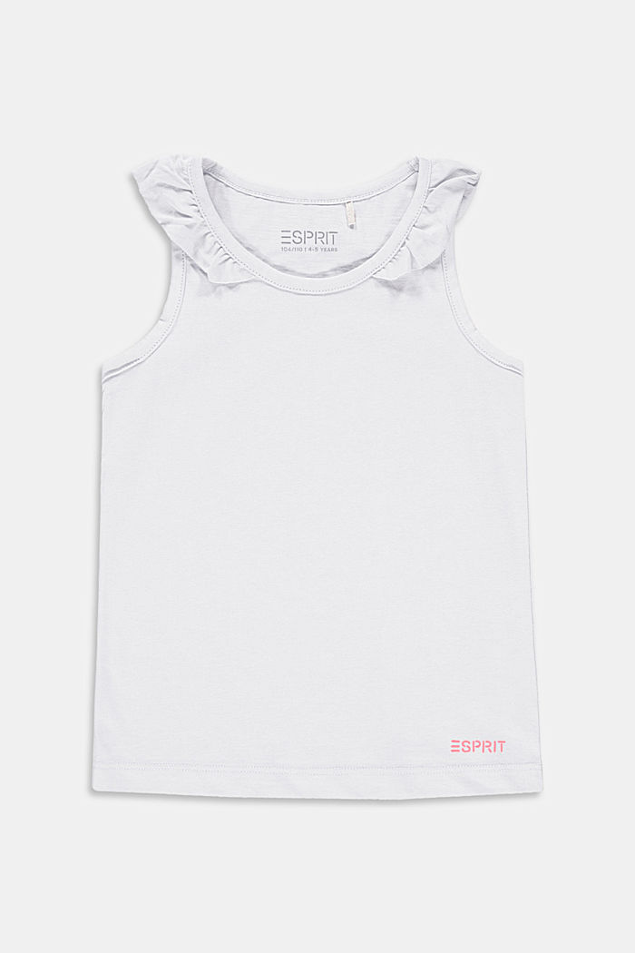 Top with frilled details, stretch cotton, WHITE, detail image number 0