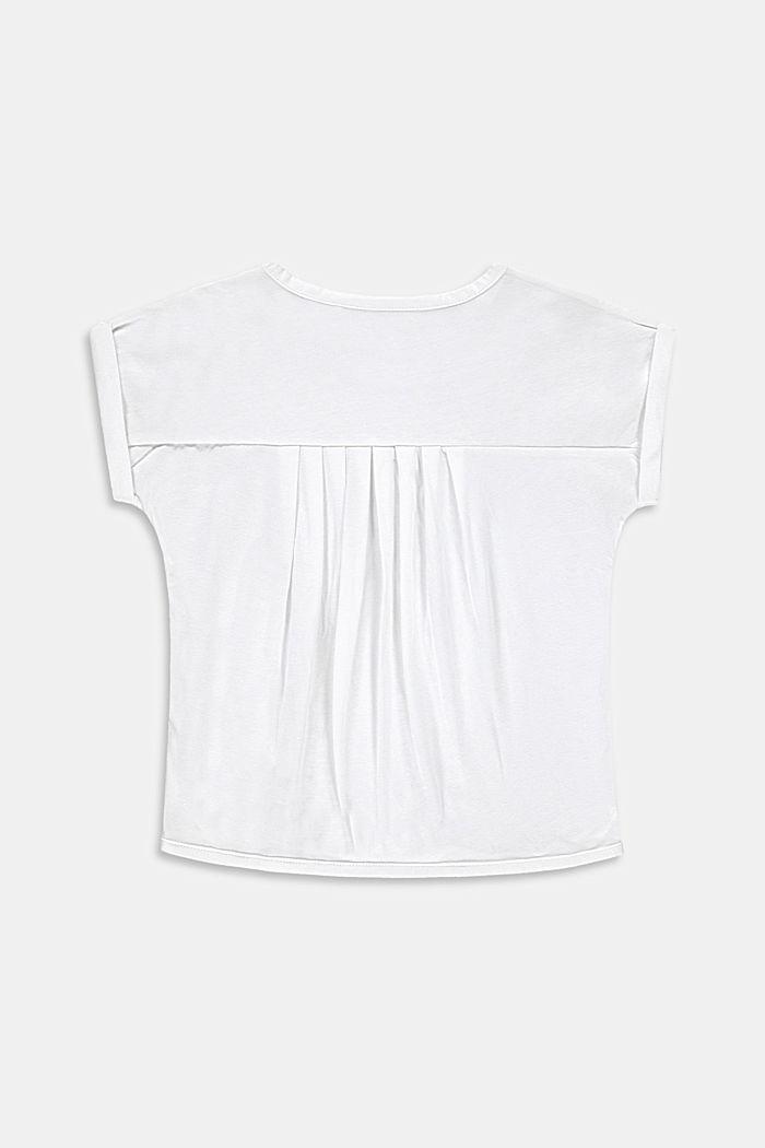 T-shirt con stampa di cactus e orli arrotolati, WHITE, detail image number 1