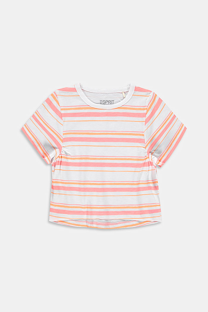 Subtly striped T-shirt, 100% cotton, PEACH, detail image number 0