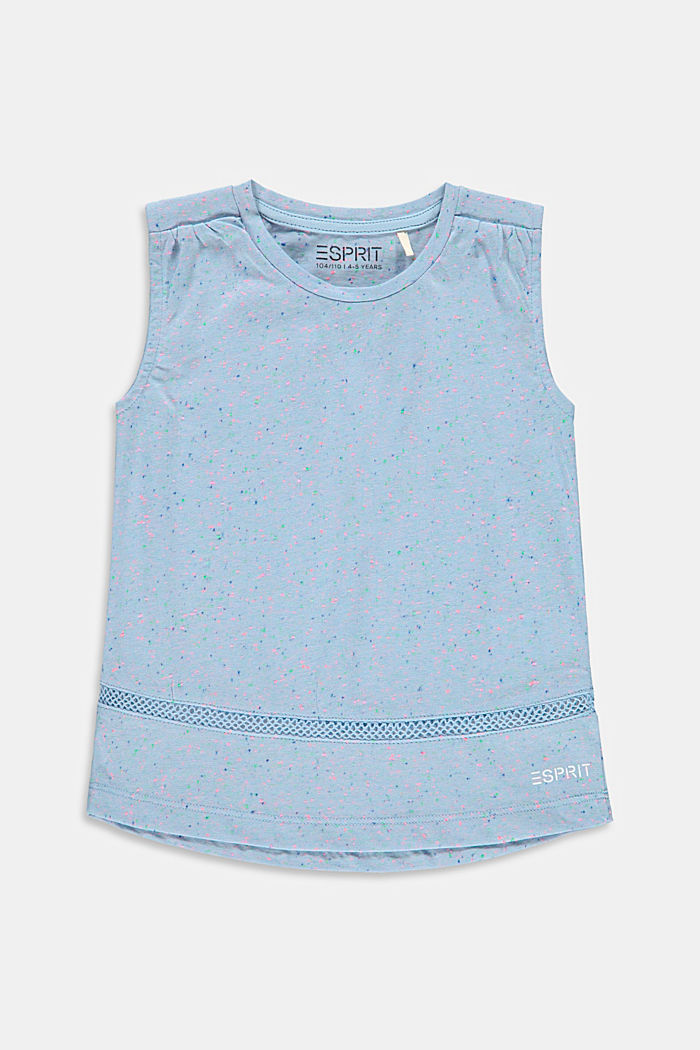 T-shirt with dimpled texture and crocheted lace, BLUE LAVENDER, detail image number 0