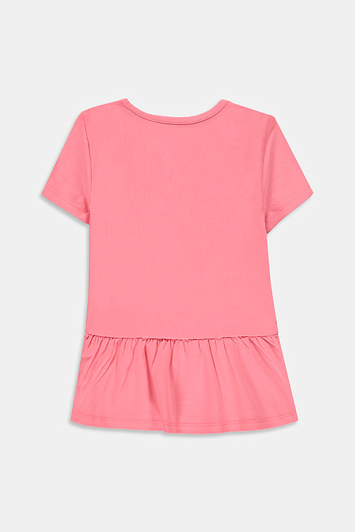 T-shirt con volant in cotone stretch, PINK, detail image number 1