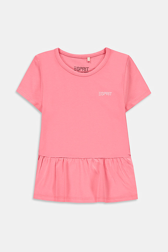 T-shirt con volant in cotone stretch, PINK, detail image number 0