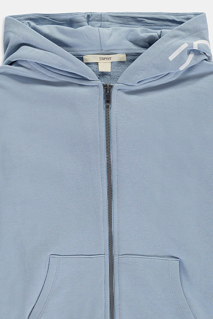 Zip-up hoodie with a logo print, 100% cotton, GREY BLUE, detail image number 2
