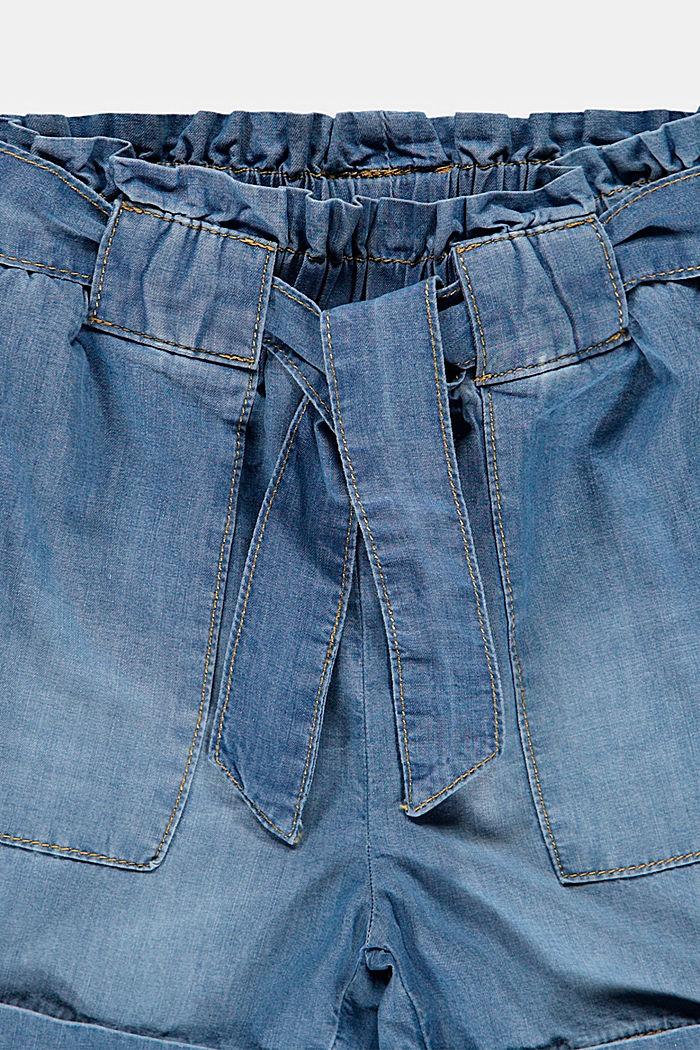Schlupfshorts mit Gürtel im Jeanslook, BLUE LIGHT WASHED, detail image number 2
