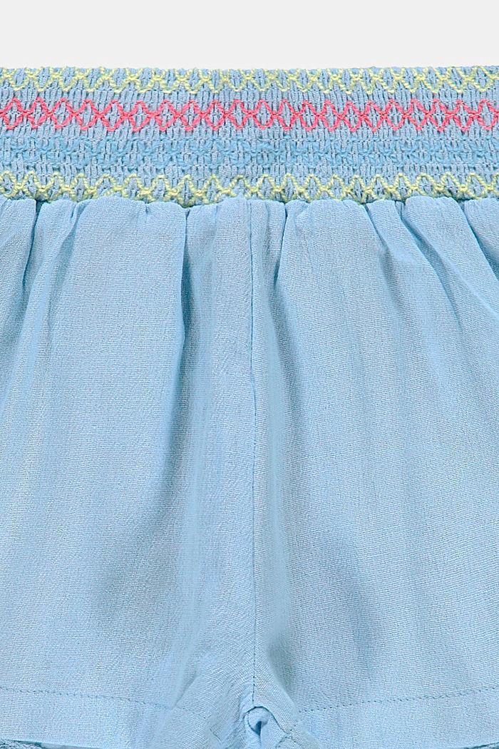 Short en crêpe à smocks, 100% coton, BLUE LAVENDER, detail image number 2
