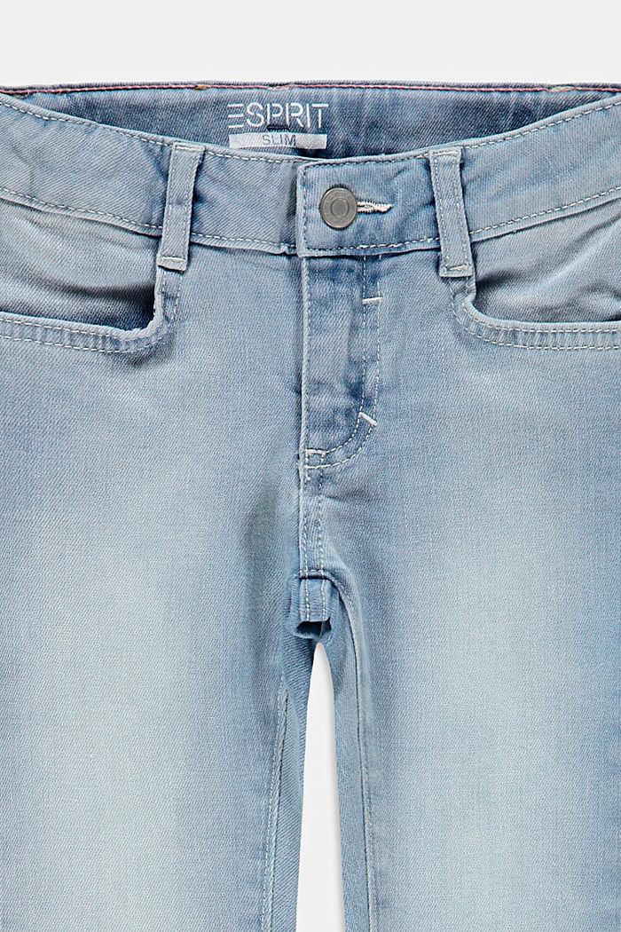 Jeans mit schrägem Saum und Verstellbund, BLUE BLEACHED, detail image number 2