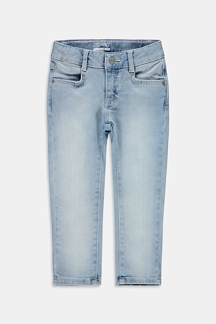 Jeans with slanted hem and adjustable waistband