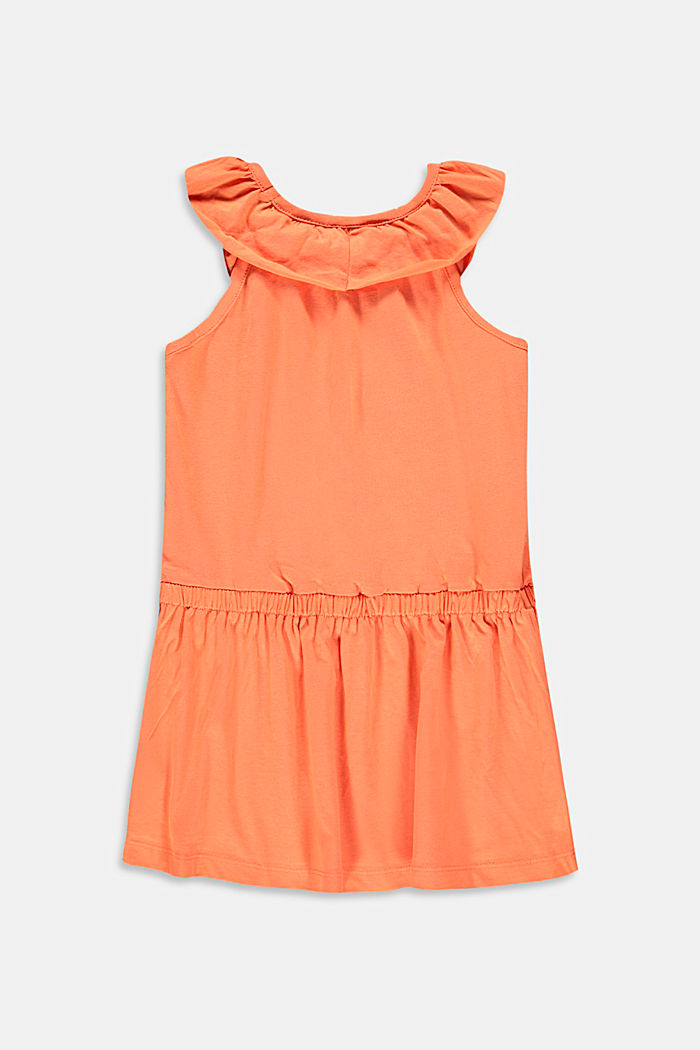 Jersey dress with frills made of stretch cotton, PEACH, detail image number 1
