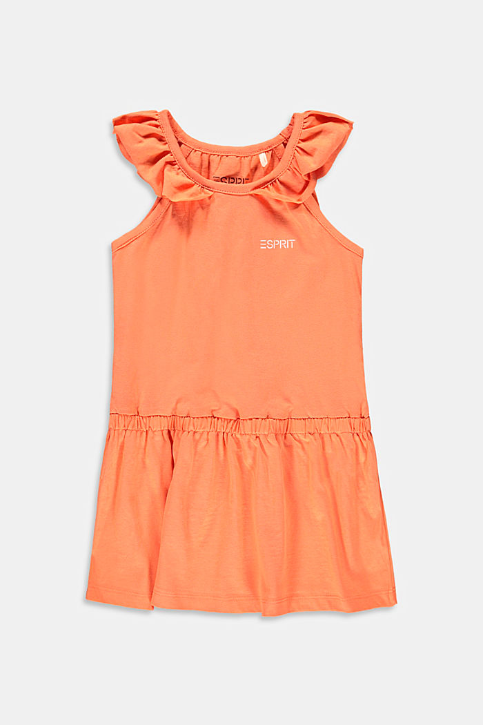 Jersey dress with frills made of stretch cotton, PEACH, detail image number 0
