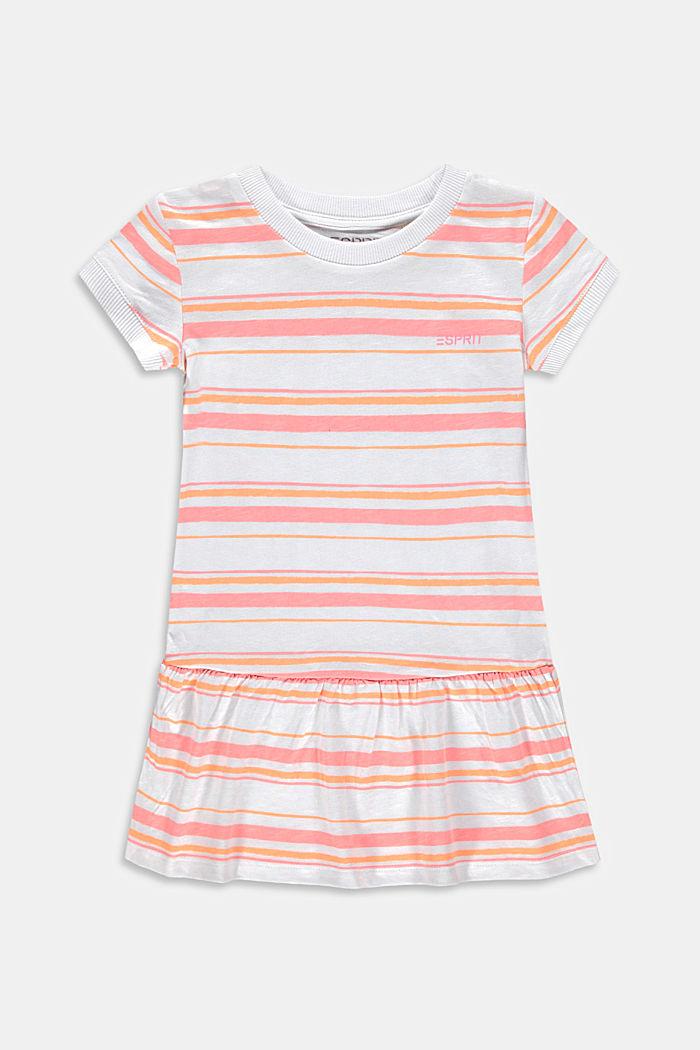 Gestreiftes Jerseykleid aus 100% Baumwolle, PEACH, detail image number 0
