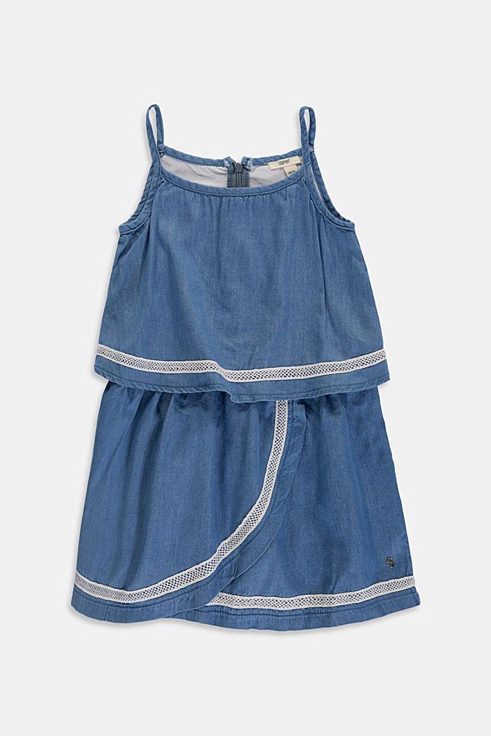 Van lyocell: jurk met denim look en kant