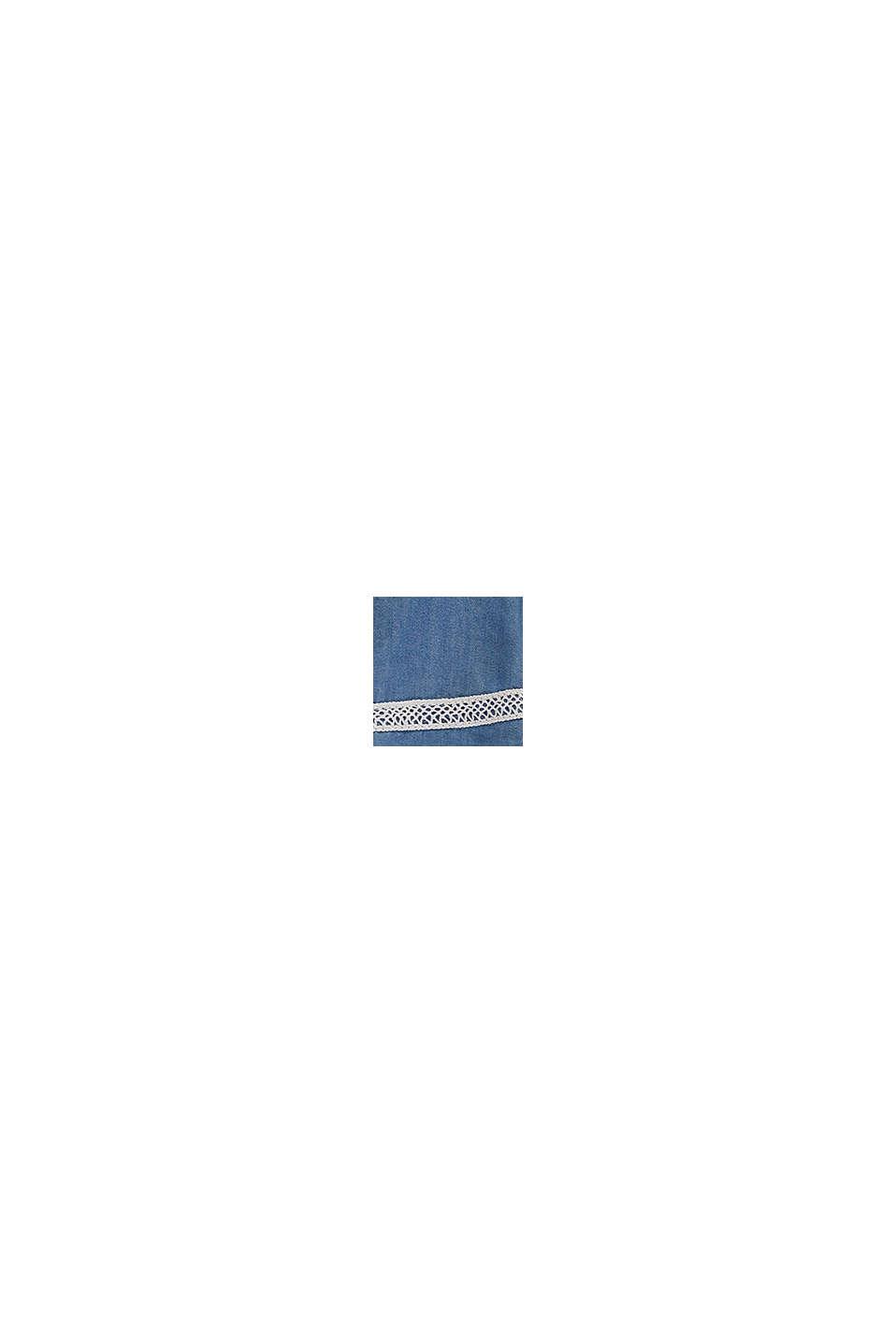 Van lyocell: jurk met denim look en kant, BLUE LIGHT WASHED, swatch