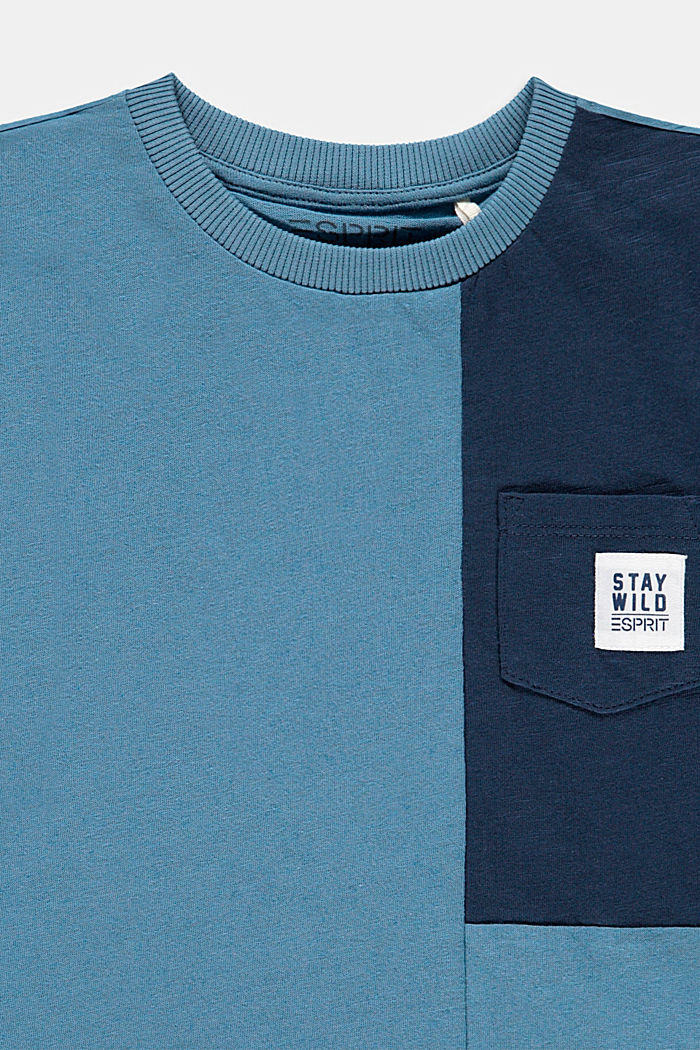 Con lino: camiseta con diseño de bloques de color, GREY BLUE, detail image number 2