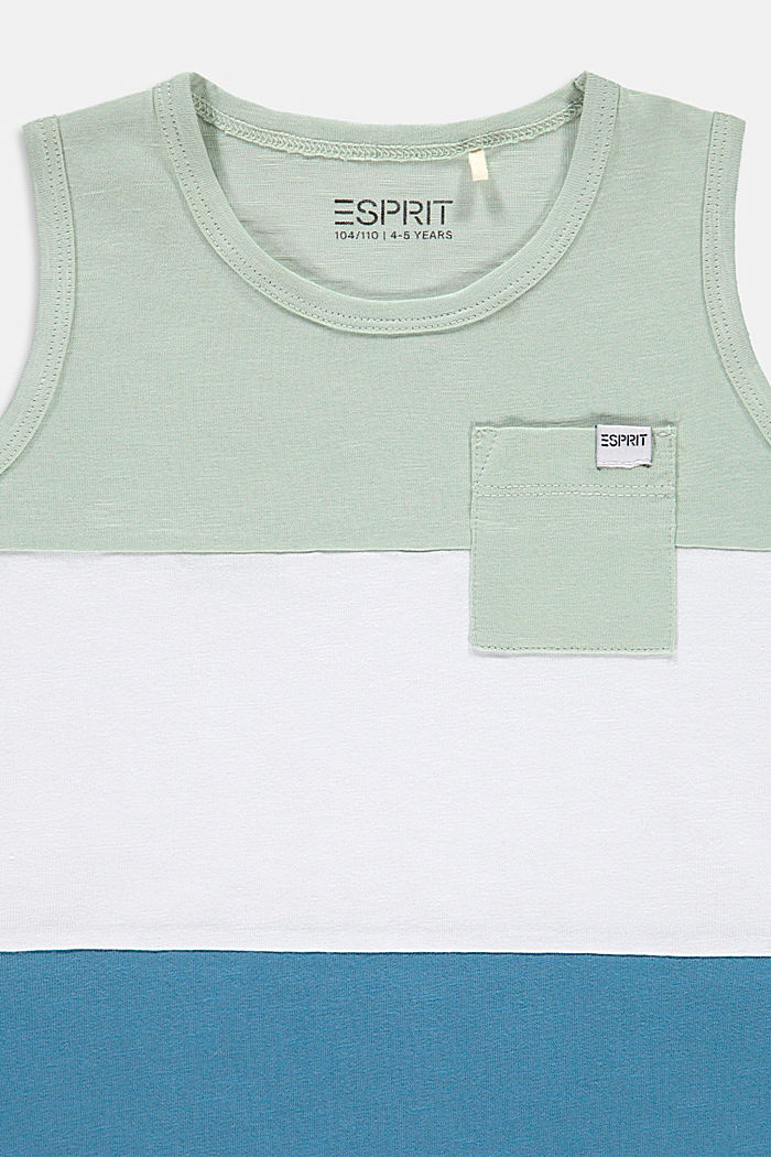 Top con bloques de color en 100% algodón, PASTEL GREEN, detail image number 2