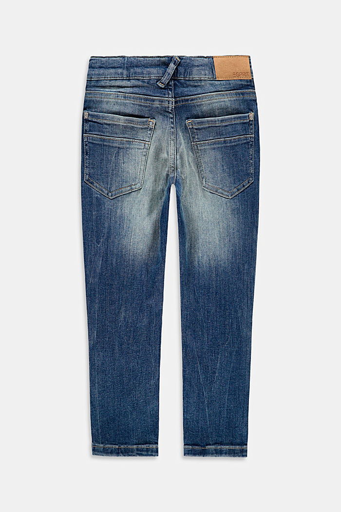 Jeans in a washed look with an adjustable waistband, BLUE MEDIUM WASHED, detail image number 1