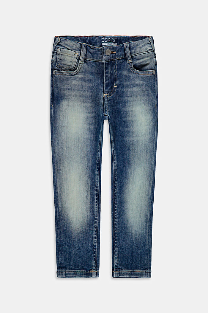 Jeans in a washed look with an adjustable waistband, BLUE MEDIUM WASHED, detail image number 0