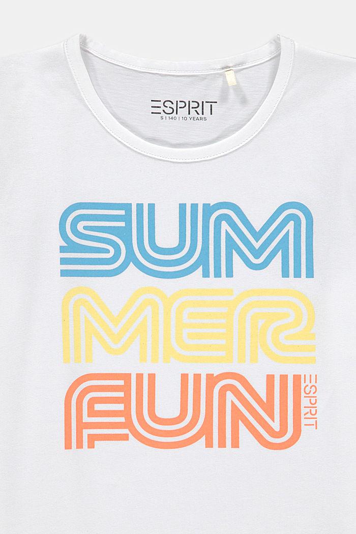 T-shirt met retroprint, katoen met stretch, WHITE, detail image number 2