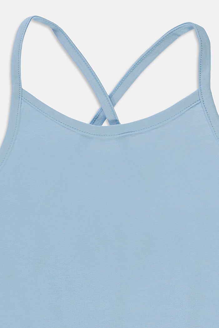 Top with crossed-over straps, stretch cotton, BLUE LAVENDER, detail image number 2