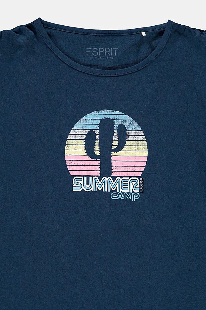 Camiseta con frunces en los hombros y estampado de cactus, PETROL BLUE, detail image number 2